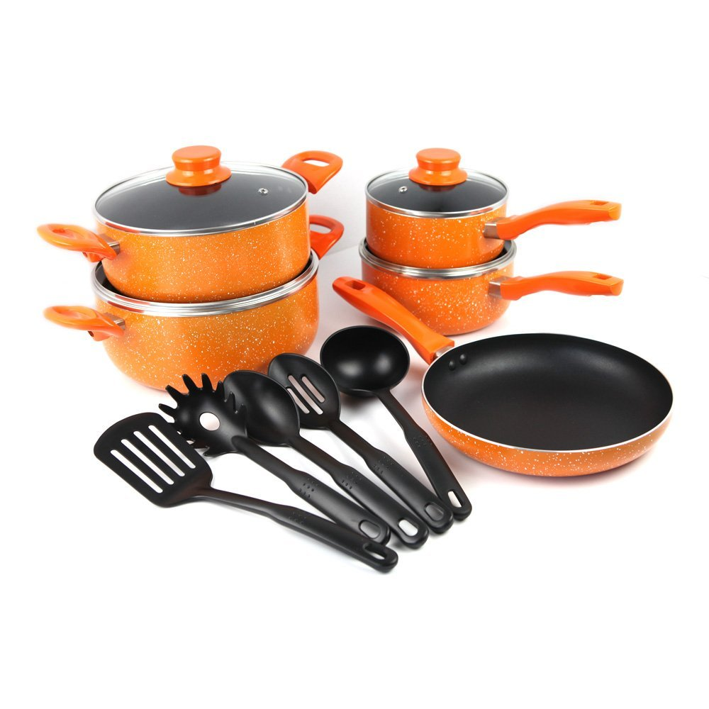 14pcs stylish press aluminum non stick cookware set with kitchen tools - Stylish cooking ...
