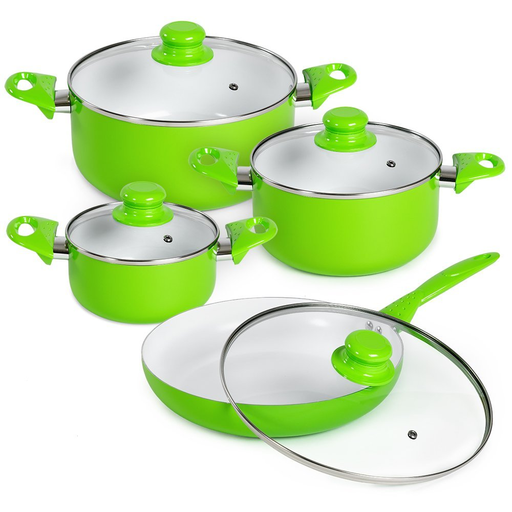 8pcs Cooking Evenly Press Aluminum Healthy Ceramic Coated